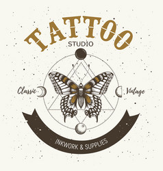 Tattoo studio banner classic and vintage tattoo vector