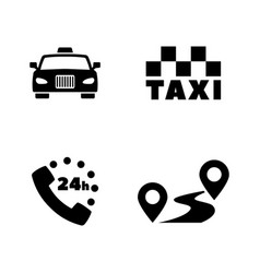 taxi service simple related icons vector image