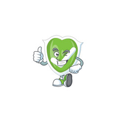 Thumbs up checkmark shield with character a mascot vector