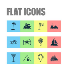 Tourism icons set with aperitif sail ship pin vector