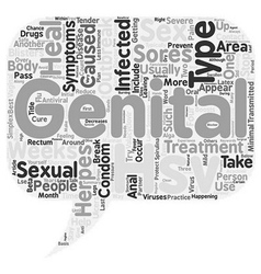 Treatment Of Genital Herpes text background vector