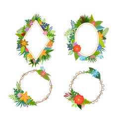 tropical flowers frames vector image
