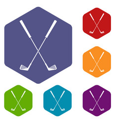 Two golf clubs icons set hexagon vector