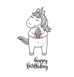 Unicorn with cupcake vector