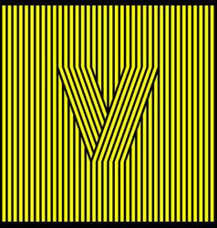v monogram contrast stripes optical illusion vector image