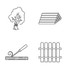 Wood logs in a stack chisel fence lumber and vector