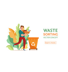 Young men throwing plastic garbage into containers vector