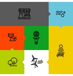 Ecology green environment line icons set vector image vector image