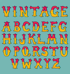 hand drawn vintage alphabet set vector image
