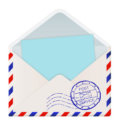 open international mail envelope with blue paper vector image vector image