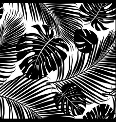 seamless pattern palm tree leaves vector image vector image
