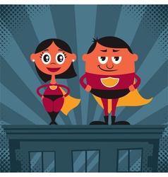 Superhero Couple Cartoon vector image vector image