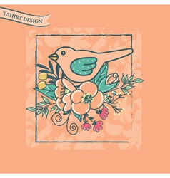 t shirt design with bird and flowers pink vector image