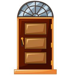 wooden door with glass on top vector image vector image