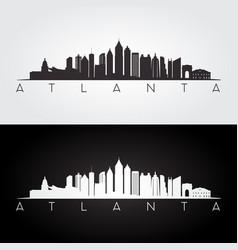 atlanta usa skyline and landmarks silhouette vector image vector image