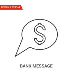 bank message icon thin line vector image