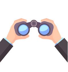 binocular in hand business vision vector image vector image