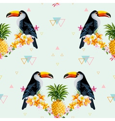 Geometric Pineapple and Toucan Background vector image