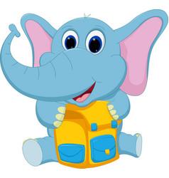 happy elephant with school bag vector image