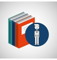 library books school man teacher vector image