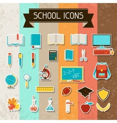 School and education sticker icons set vector image vector image