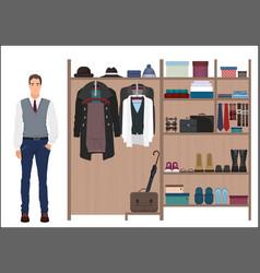 Stylish man and man s wardrobe Men vector image vector image