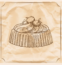 sweet retro cake with strawberries and wipped vector image vector image