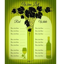 Wine list green vector image