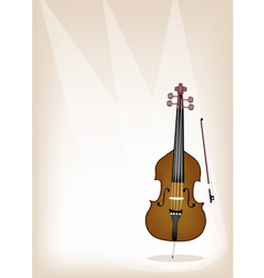 A Beautiful Double Bass on Brown Stage Background vector image vector image