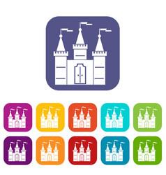 Castle icons set flat vector