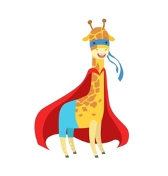 Giraffe Animal Dressed As Superhero With A Cape vector image