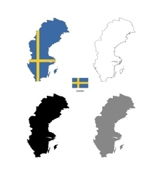 Sweden country black silhouette and with flag on vector image vector image