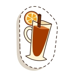 Tea cup with lemon slice cartoon vector