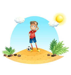 A tired soccer player vector image vector image