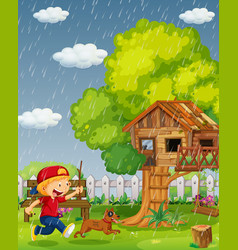 boy and dog running in the park on rainy day vector image vector image