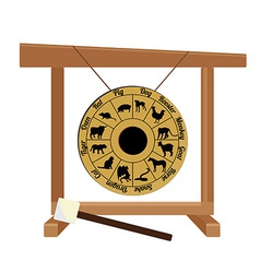 Chinese gong with zodiac and hammer vector image vector image