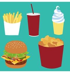 French fries soda coke ice-cream cheeseburger vector image