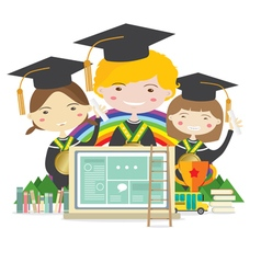 Happy Students In Graduation Suit vector image