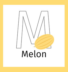 melon and letter m coloring page vector image vector image