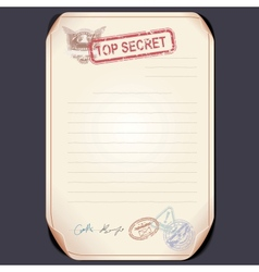 Old Top Secret Document on Table Template vector image