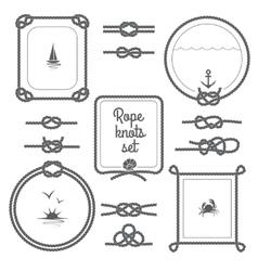 Rope Frames Black And White Set vector image
