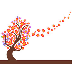 spring flowers tree flowing vector image vector image