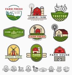Vintage modern farm logo template design vector image vector image