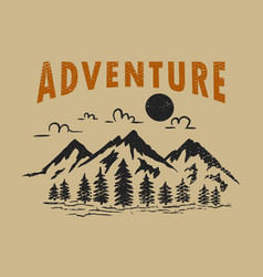 adventure wild life vintage design with mountains vector image