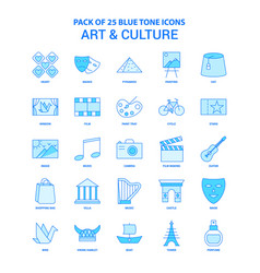 Art and culture blue tone icon pack - 25 icon sets vector