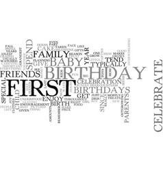 Babys first birthday text word cloud concept vector