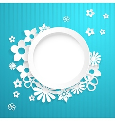 Background with circle and paper flowers vector image
