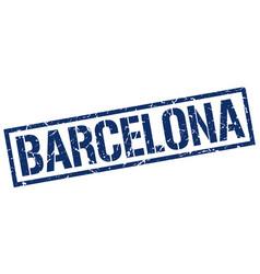 Barcelona blue square stamp vector