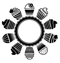 Black and white cupcakes vector