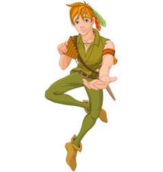Boy wearing peter pan costume vector